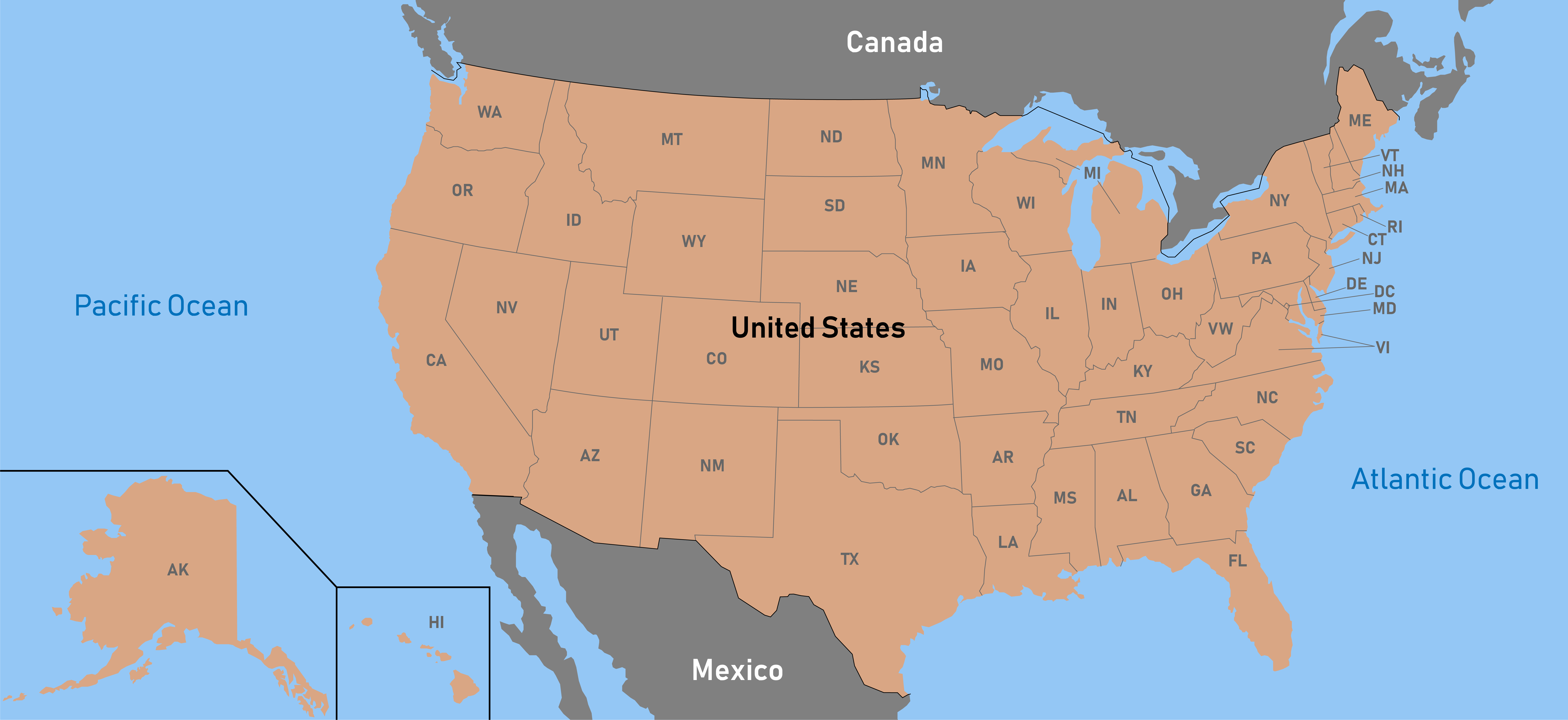 Picture of: File Map Of The Us With State Abbreviations Png Wikimedia Commons