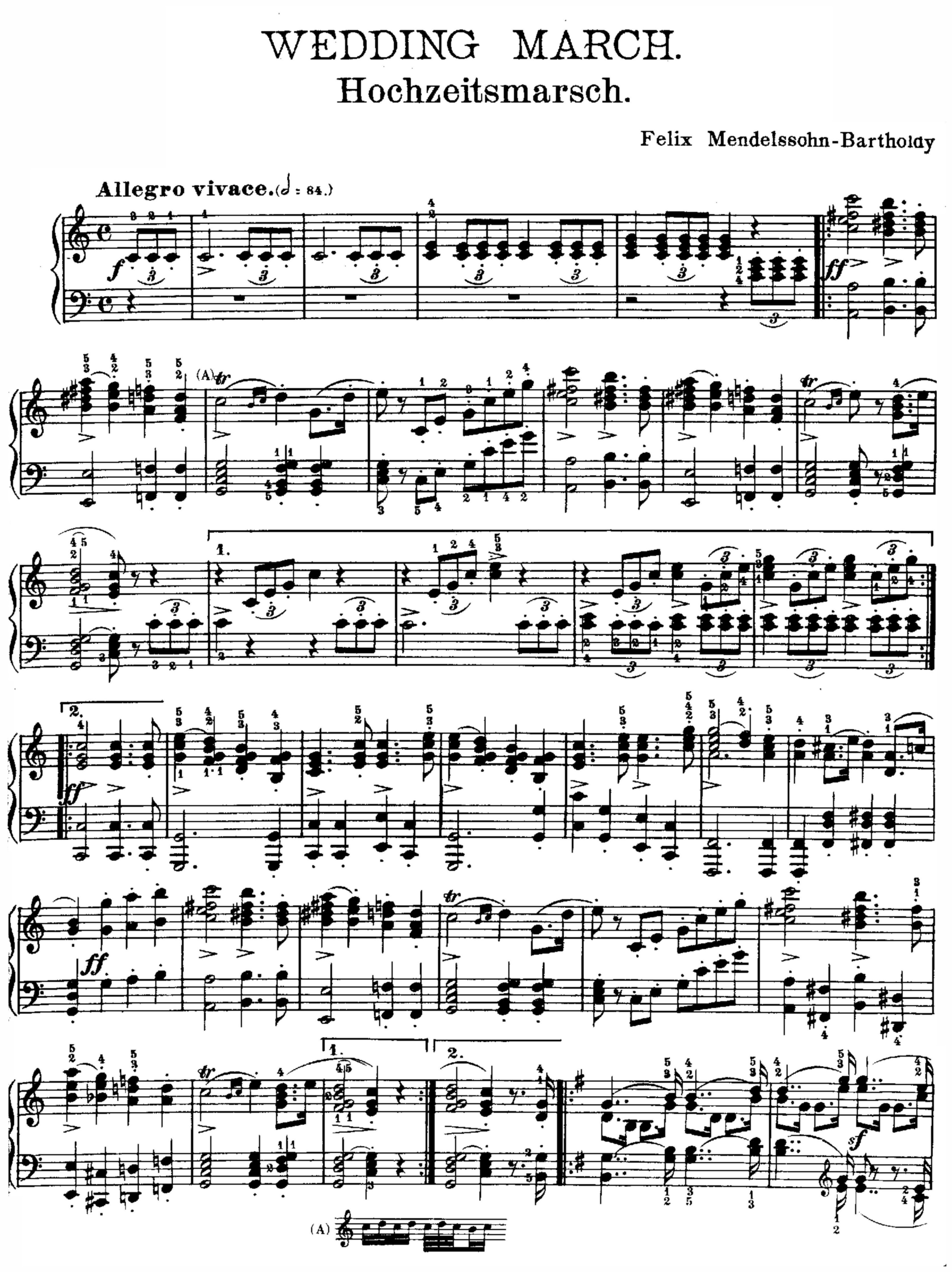 Is There A Definitive Copy Of Piano Sheet Music For The Wedding March Classicalmusic