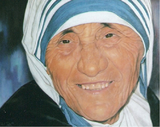 Mother Teresa of Calcuta, portrait painting by Robert Pérez Palou