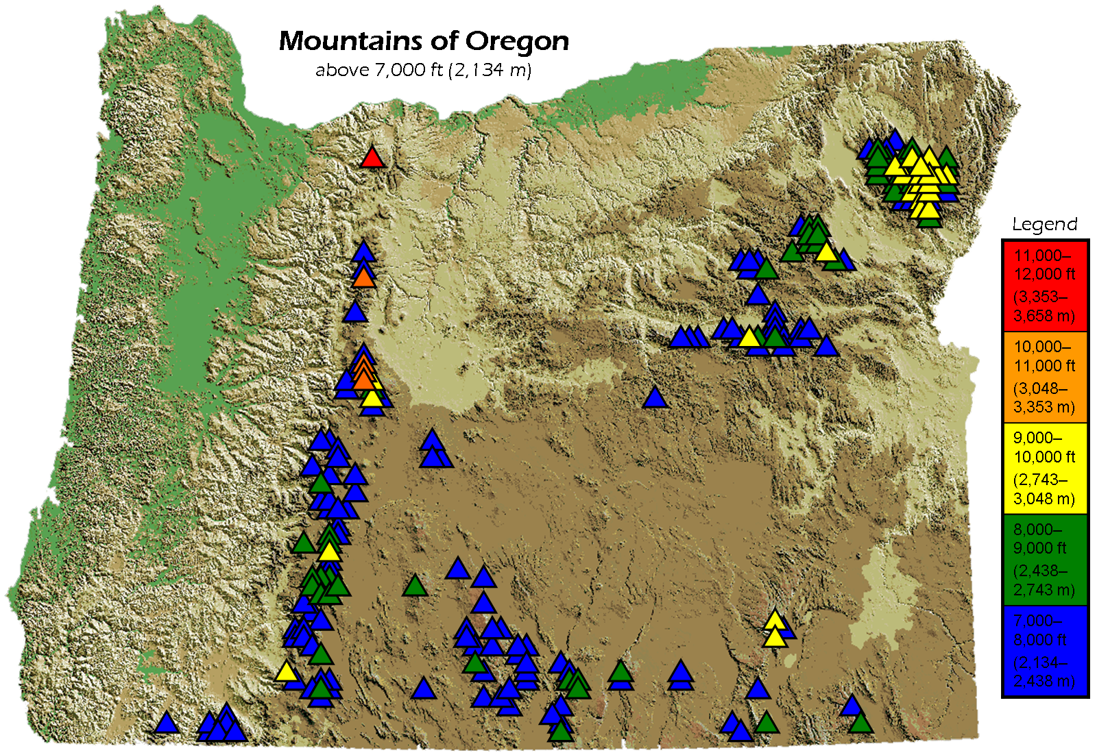 Mountains In Oregon Map List of mountains of Oregon   Wikipedia