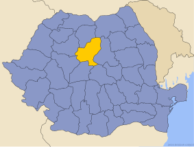 Administrative map of Руминия with Муреш county highlighted