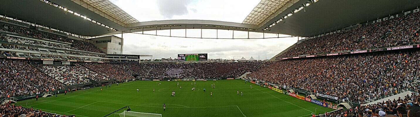 374a4d443a Vista panorâmica através do setor sul da Arena Corinthians