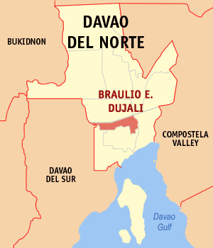Map of Davao del Norte showing the location of Braulio E. Dujali