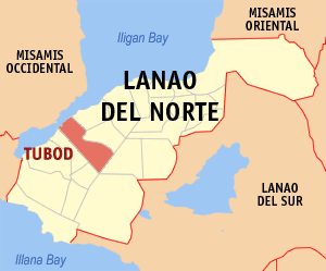 Map of Lanao del Norte showing the location of Tubod