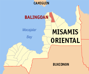Map of Misamis Oriental showing the location of Balingoan