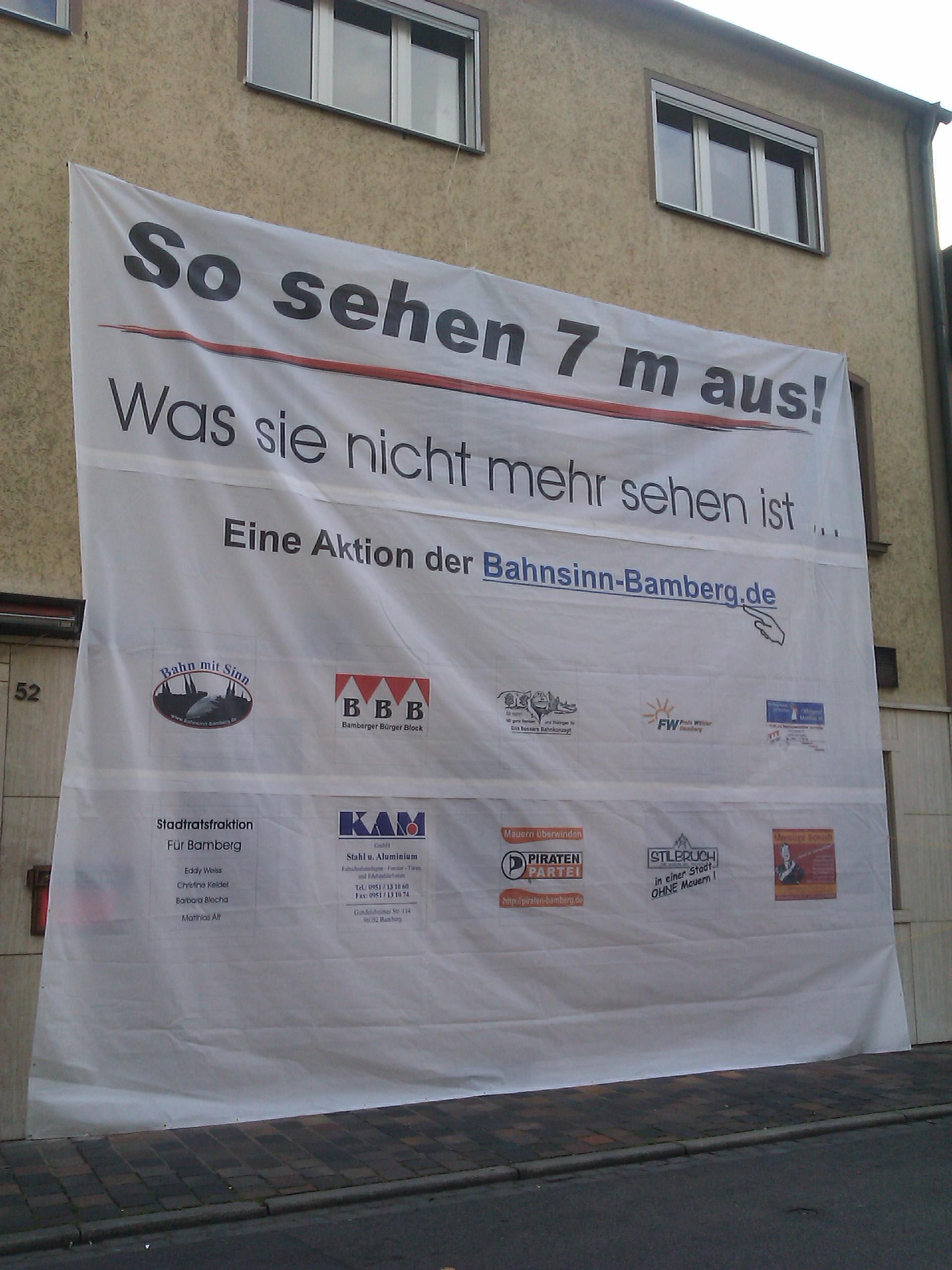 Protestbanner in Bamberg gegen die geplanten Lärmschutzwände