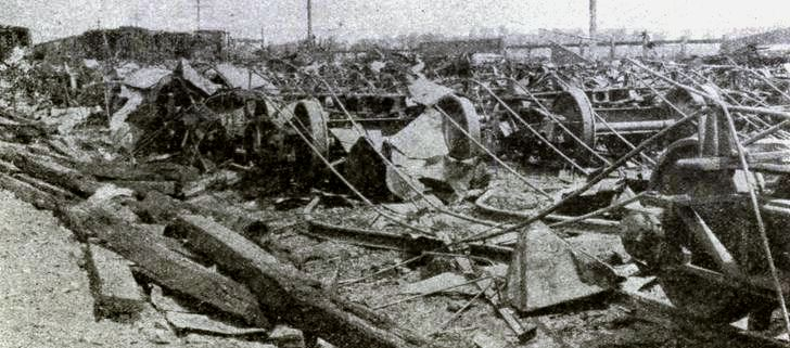 Illinois Central Railroad freight and coal cars damaged during Pullman Strike riots