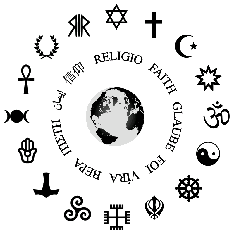 Symbols of many faiths