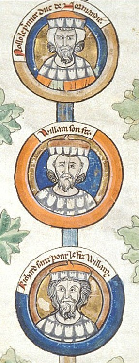 13th-century depiction of Rollo (top) and his descendants William I Longsword and Richard I of Normandy