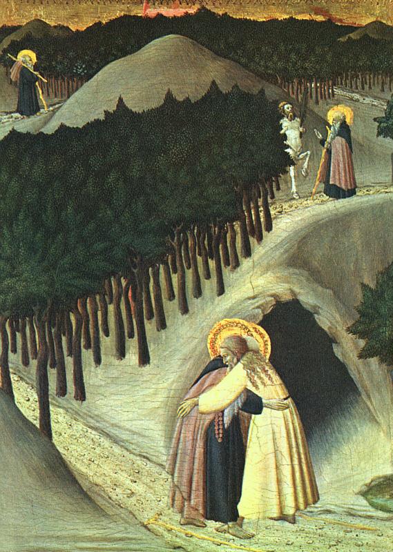 Sassetta (Stefano di Giovanni): Paulus møter Antonius, ca 1440, National Gallery of Art i Washington