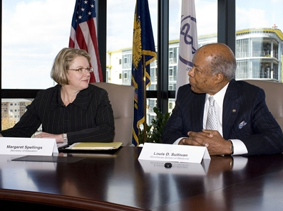 File:Secretary Spellings and Dr  Louis Sullivan, dean of the