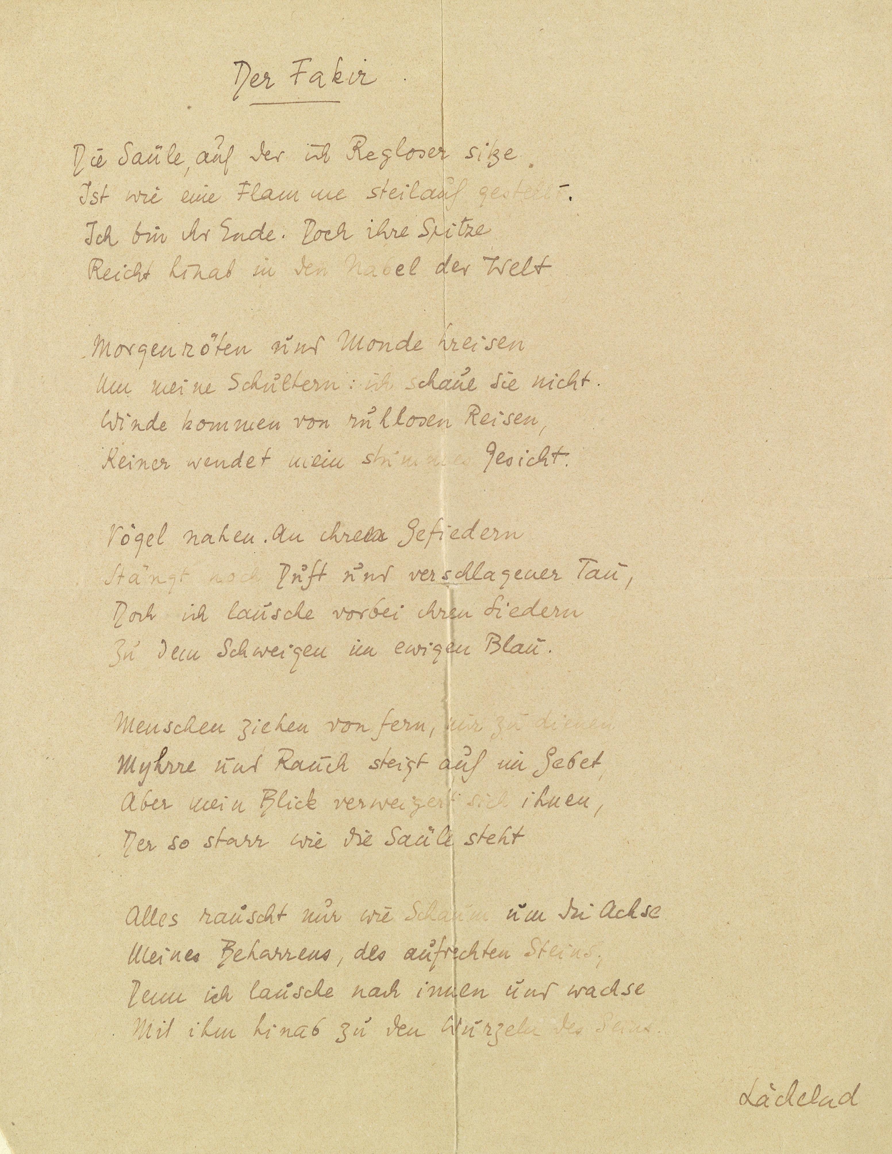 Filestefan Zweig Gedichtmanuskript Der Fakir S1jpg