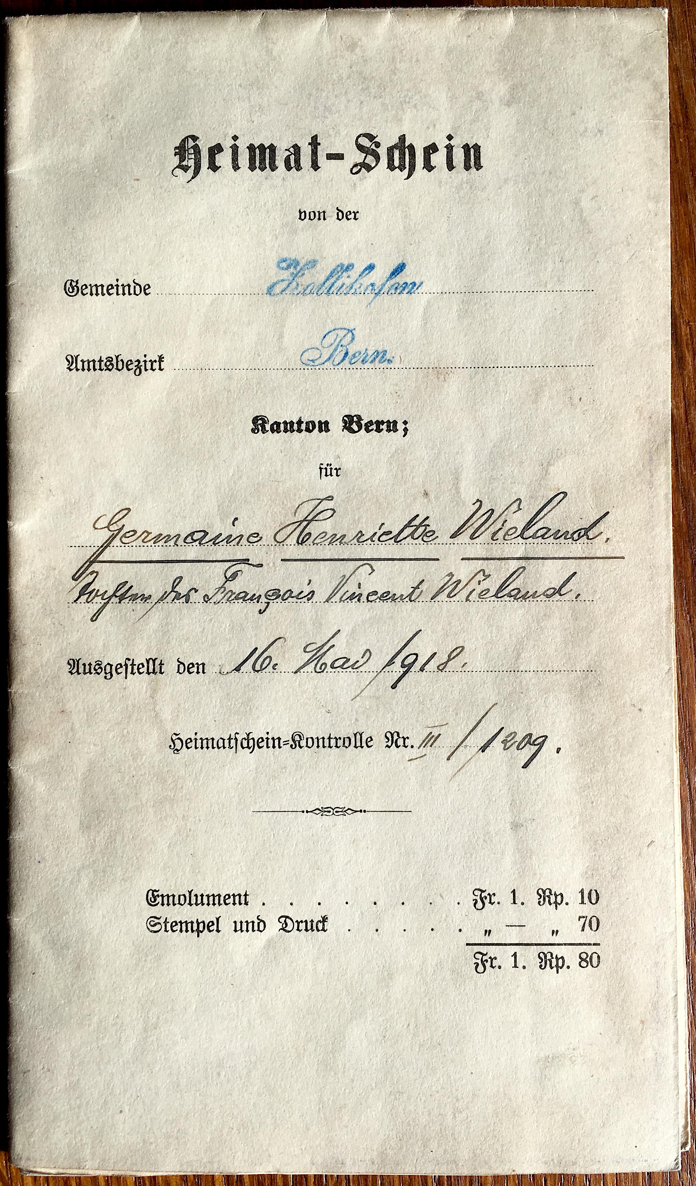 Place of origin wikipedia front of a 1918 zollikofen bern heimatschein municipal citizenship certificate yadclub Image collections