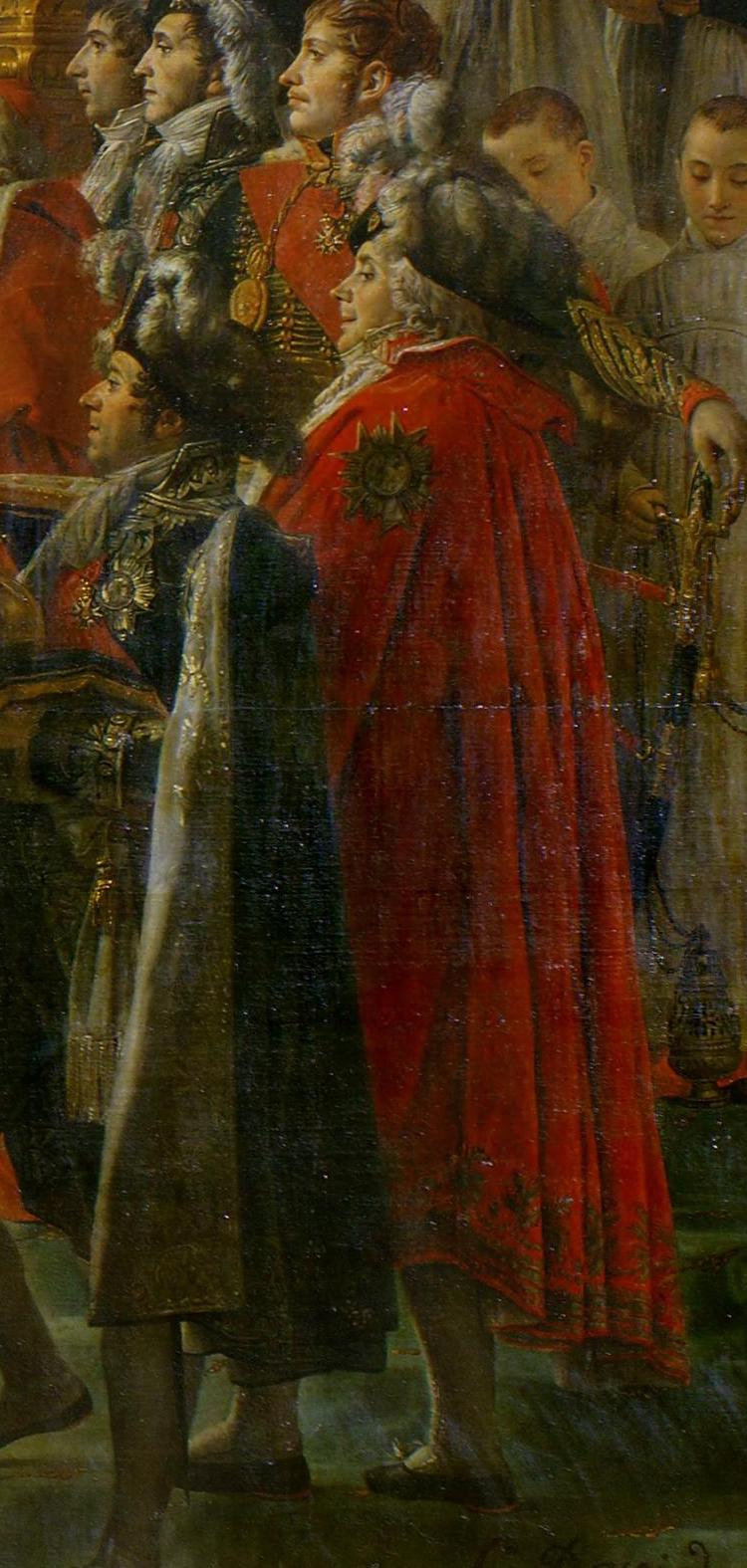 Morceau de peinture représentant plusieurs personnages chamarrés, debout en grand habit, de profil et regardant vers la gauche. Parmi eux, au centre, un large personnage en cape rouge avec une grande médaille en forme d'étoile sur l'épaule, chapeau noir à plumes blanches, bas blancs et souliers noirs.