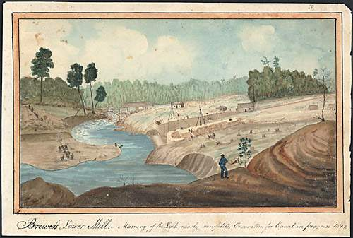 File:The lock at Lower Brewers nearing completion in 1831.jpg