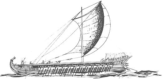 Line drawing of a Greek Trireme, a heavily armed and rowed vessel
