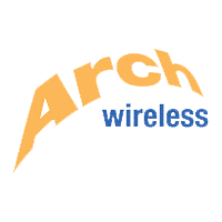 "The word ""Arch"" in large yellow curving letters above ""wireless"" in smaller blue type"