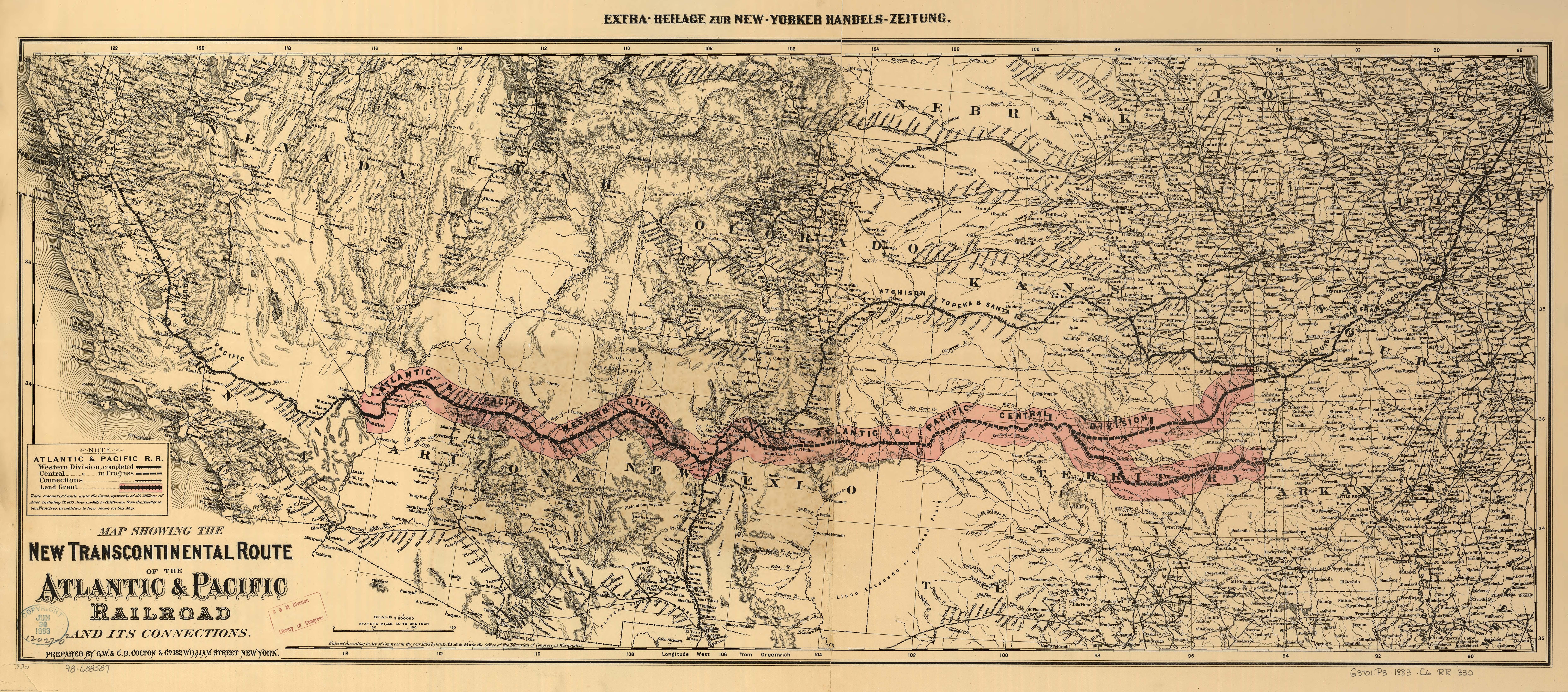 Atlantic Pacific Railroad Map Train Travel In The S - 1889 us railroad map