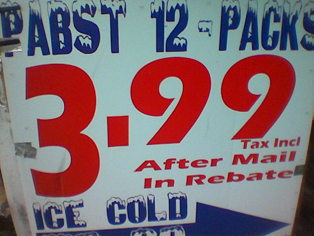 A sales advertisement for a 12 pack of Pabst beer showing only the after rebate price.