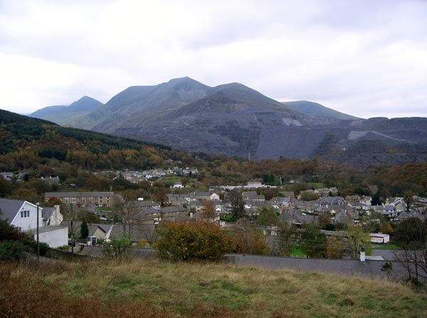 Bethesda, North Wales in Autumn. Looking west across the valley towards the quarry and the Ogwen valley.