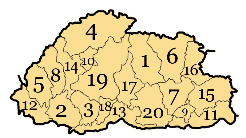 Pembagian wilayah administratif Bhutan
