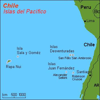 Localización del archipiélago Juan Fernández