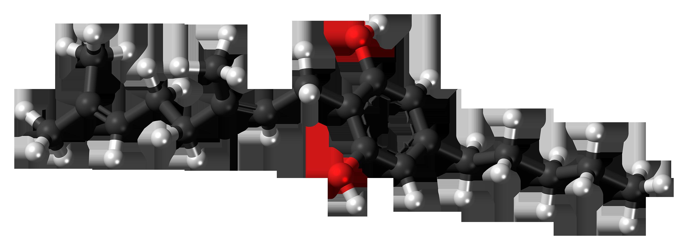 Un modello di una molecola cannabigerolo. Wikimedia Commons