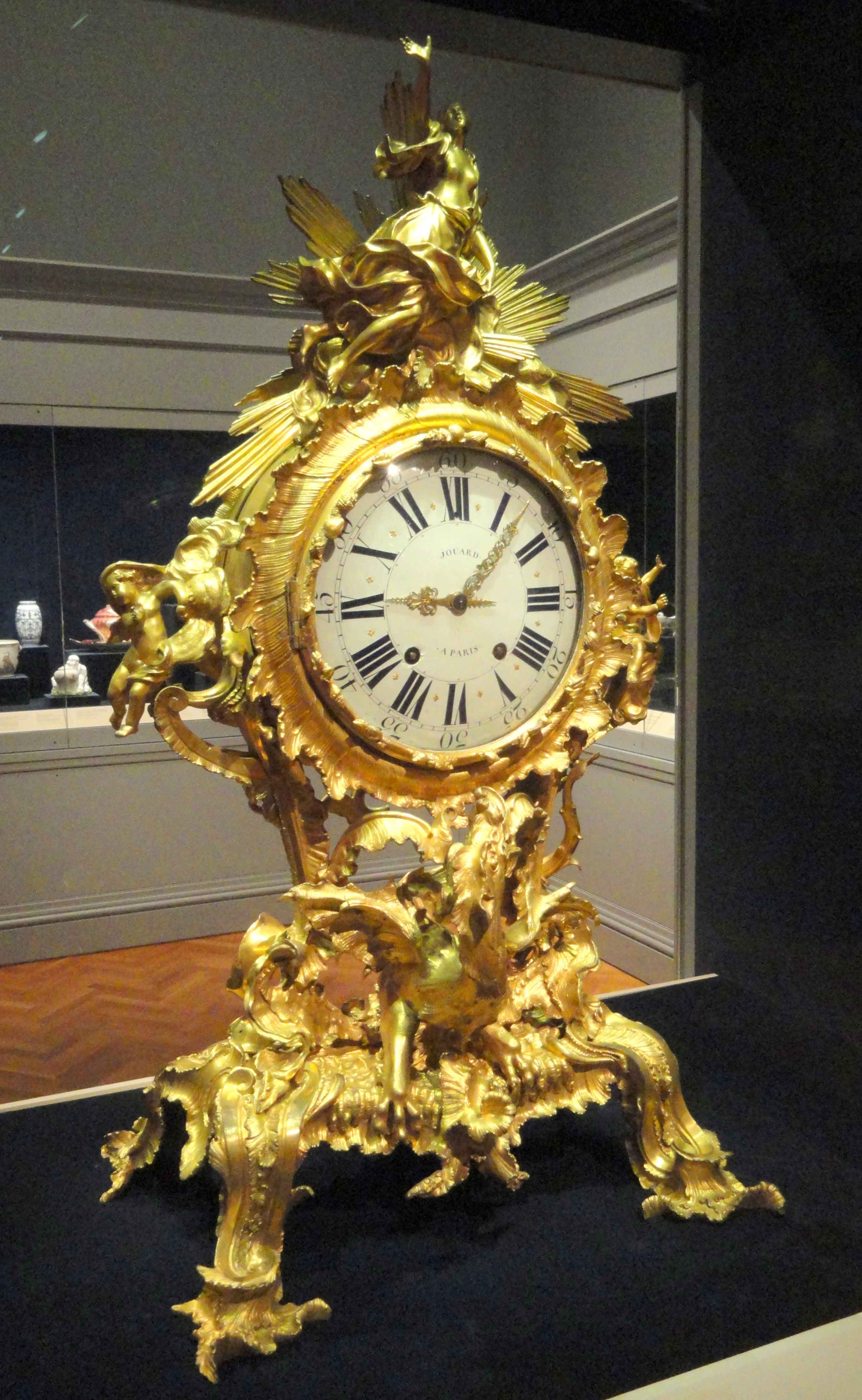 File:Clock, about 1750, France, gilt bronze - Cleveland Museum of ...