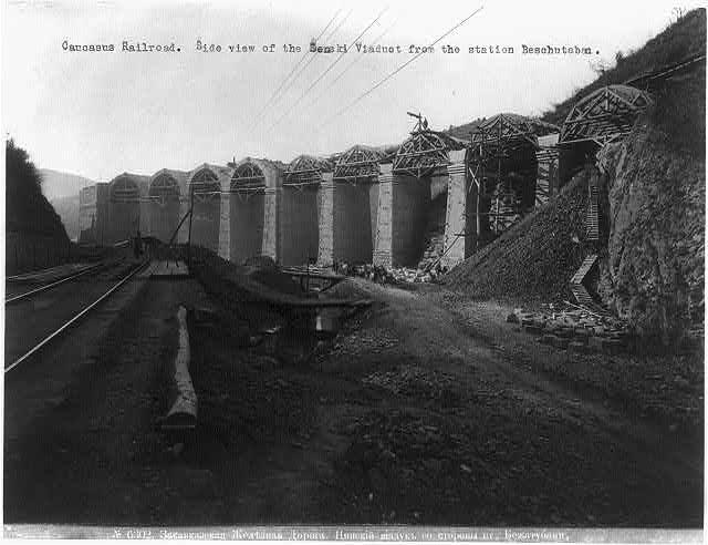 File:Constr. of Caucasus RR; view of Senski Viaduct from Beschutaban station. ca. 1890s.jpg