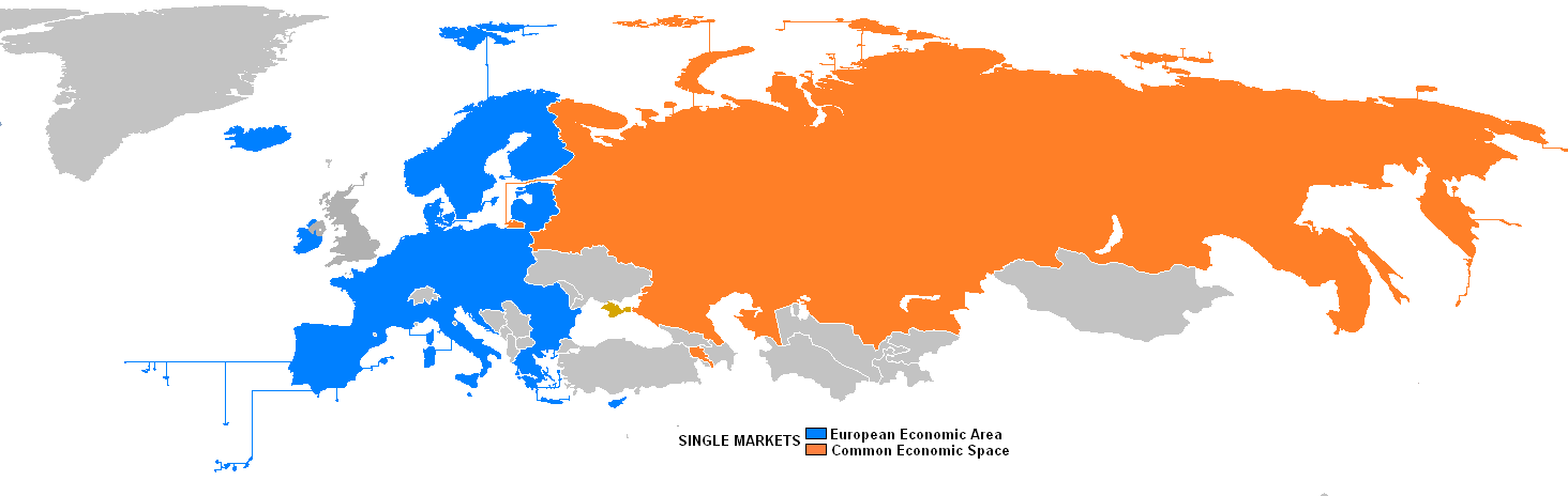 Single markets in European and post Soviet countries; European Economic Area and Common Economic Space