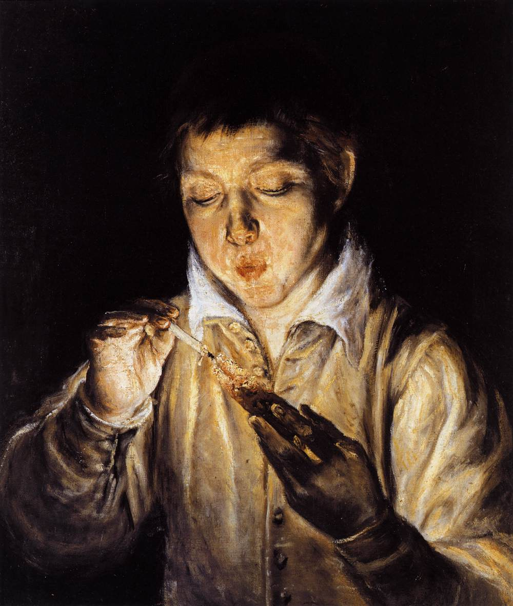 Image result for A Boy Blowing on an Ember to Light a Candle