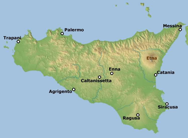 Вулкан Этна на карте Сицилии