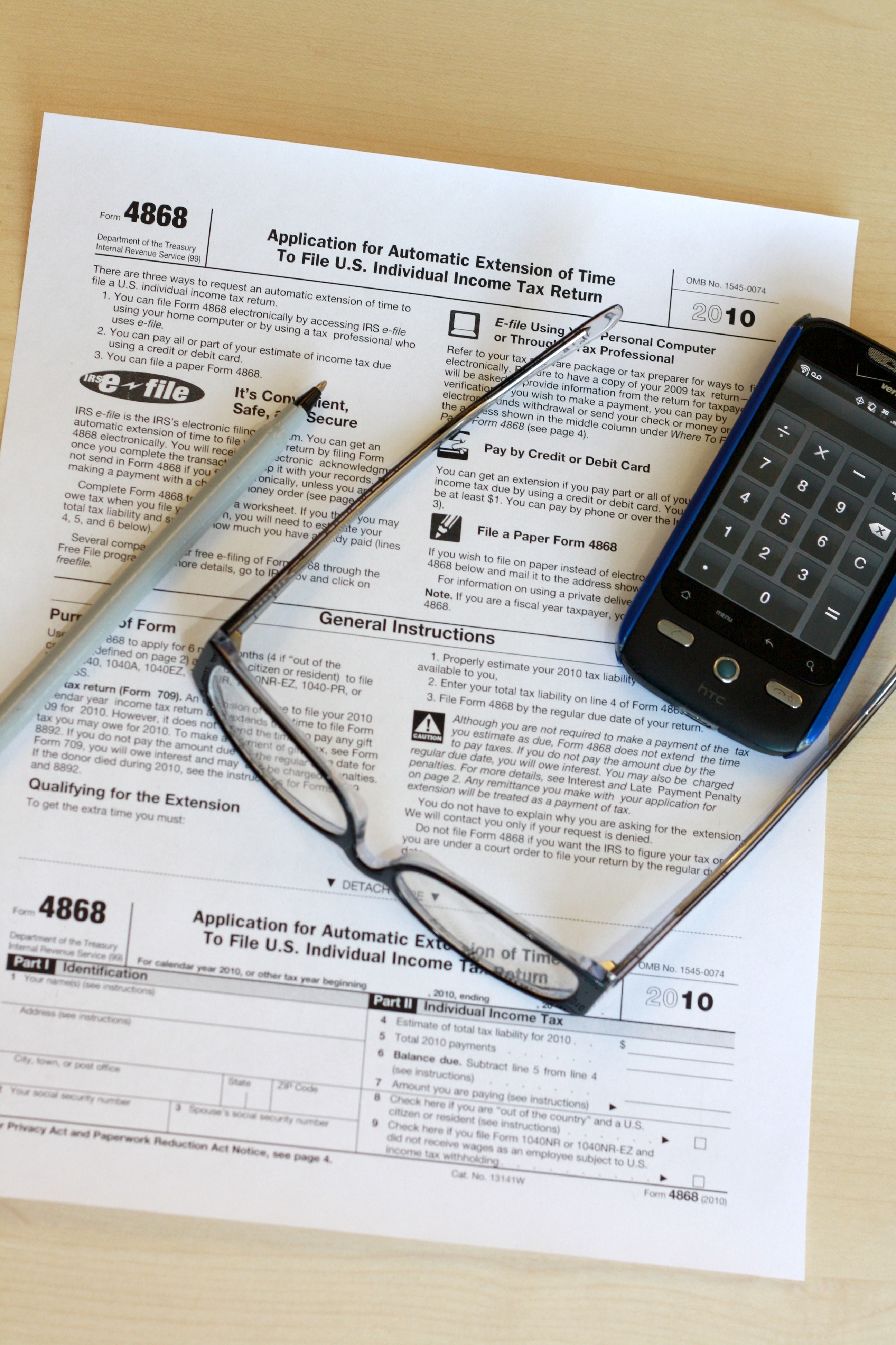 File:Form 4868, 2010, with pen glasses phone.jpg - Wikimedia Commons