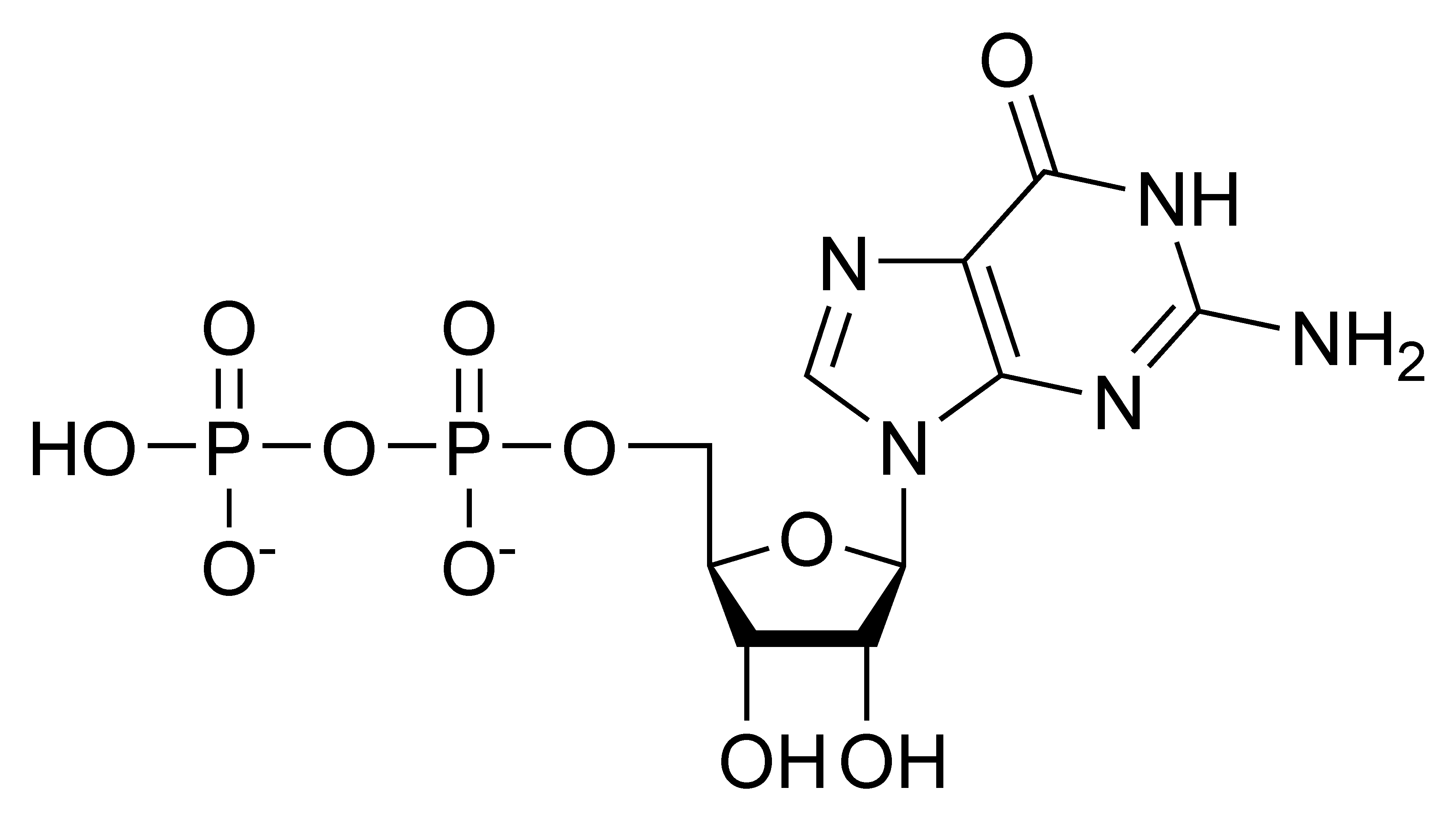 Chemical structure of guanosine diphosphate