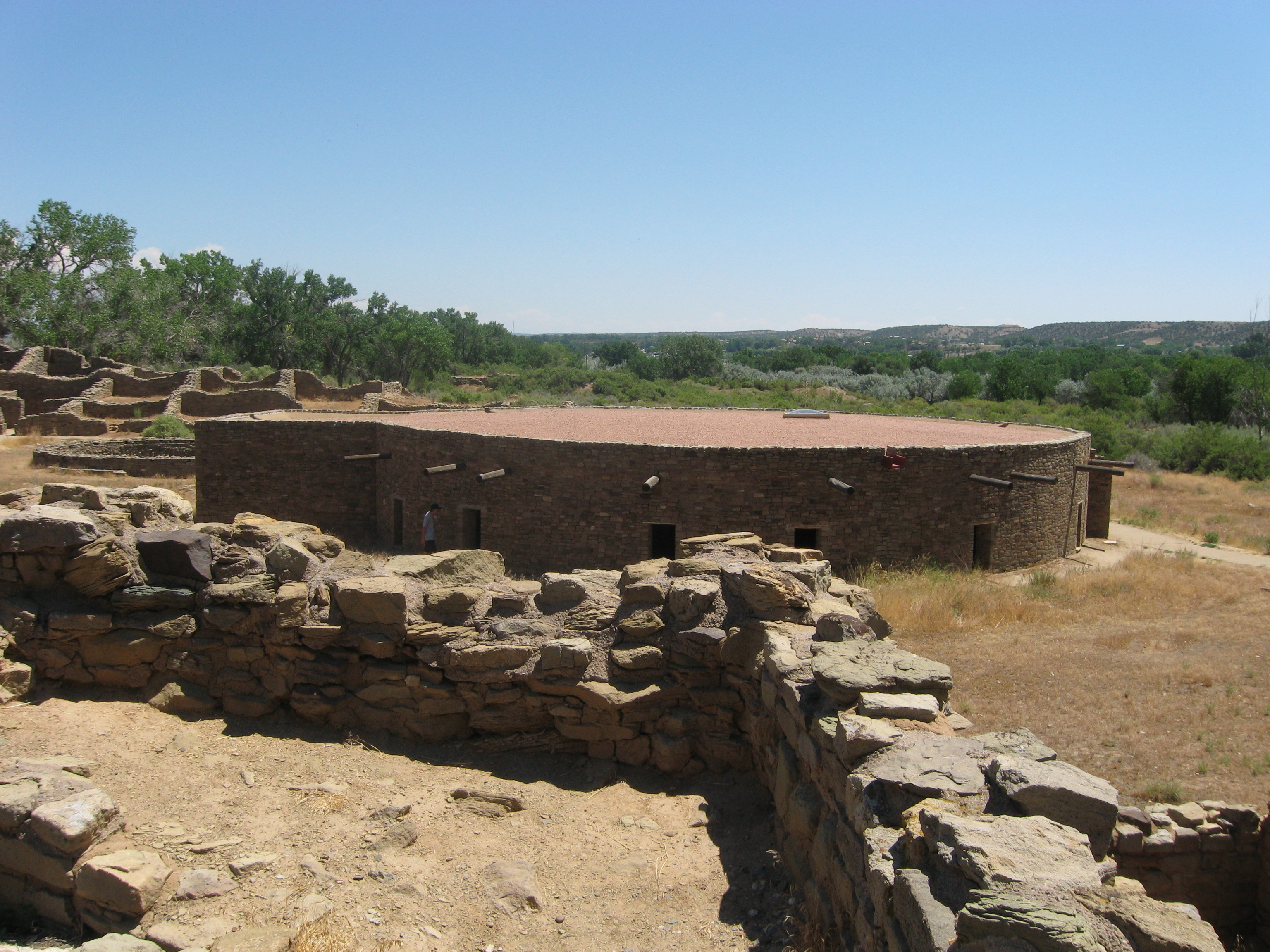 The Great Kiva at Aztec Ruins National Monument was excavated by Earl Morris in 1921 and reconstructed by him 13 years later.