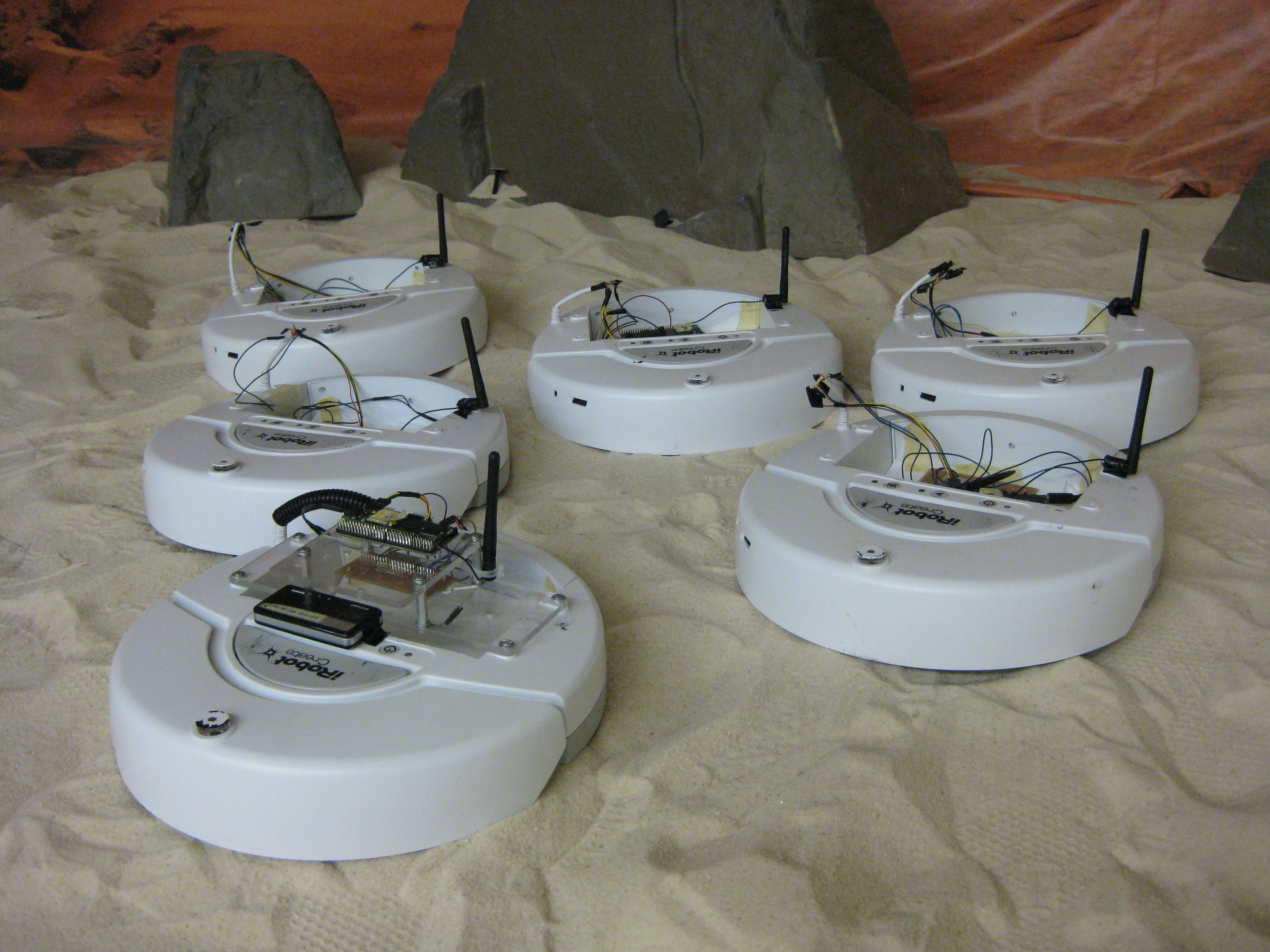 A team of iRobot Create robots at the Human-Automation Systems Lab, Georgia Institute of Technology.