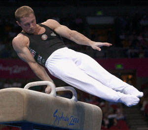 Ivan Ivankov on the pommel horse at the 2000 s...