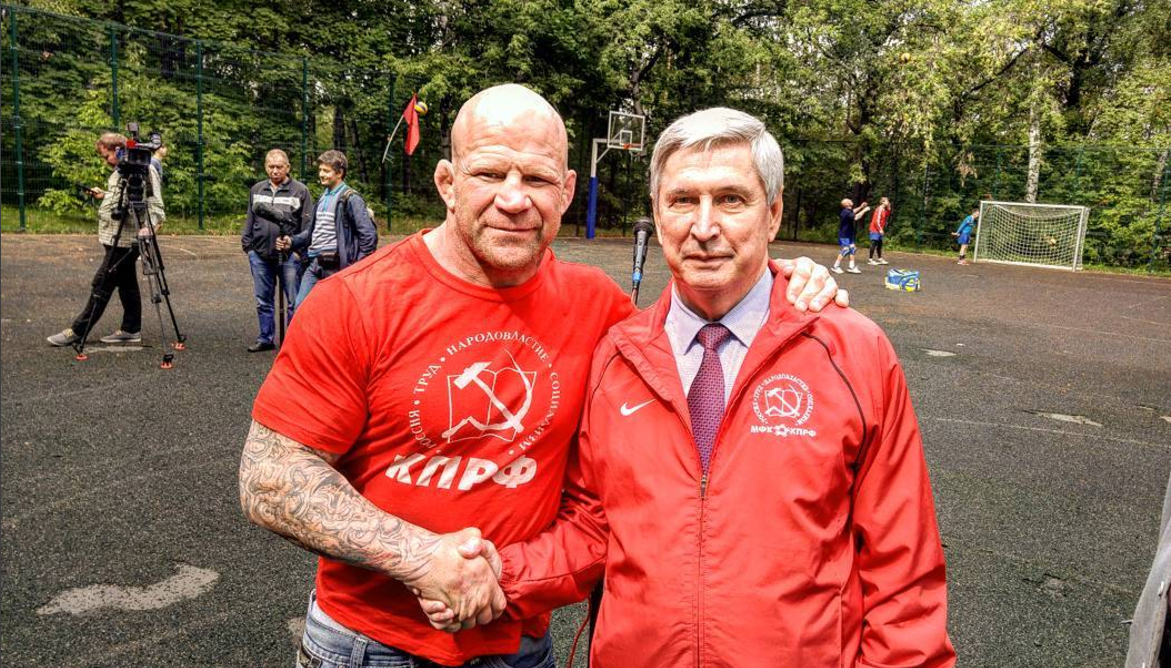 Jeff Monson and Deputy Head of the Communist Party of the Russian  Federation Ivan Melnikov in Moscow.
