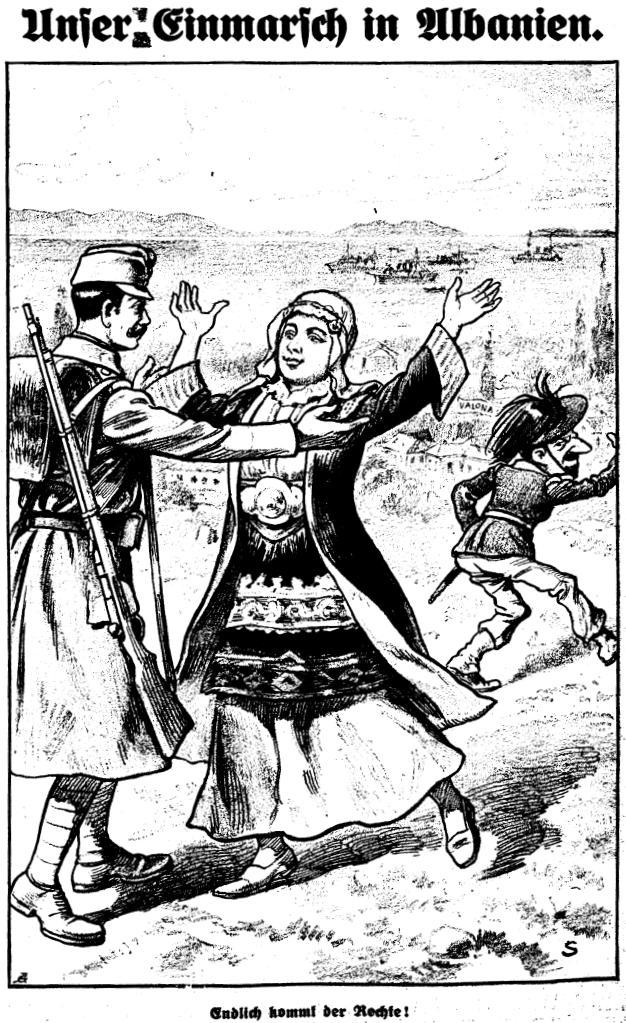 Propaganda-Karikatur zur Besetzung Albaniens durch die österreichischen Truppen