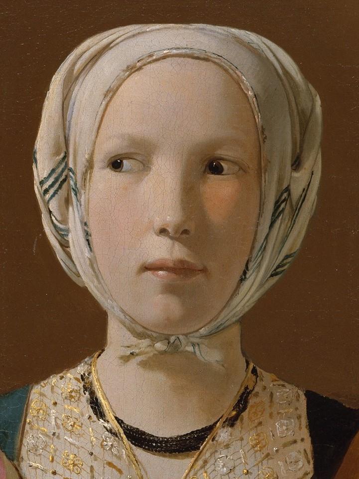 Reproduction tableaux de maitre: La_Diseuse_de_bonne_aventure_La_Tour_d%C3%A9tail_visage_jeune_femme