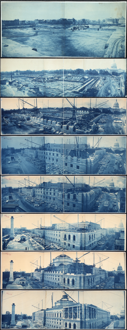 Étapes de la construction du Thomas Jefferson Building, du 8 juillet 1888 au 15 mai 1894.