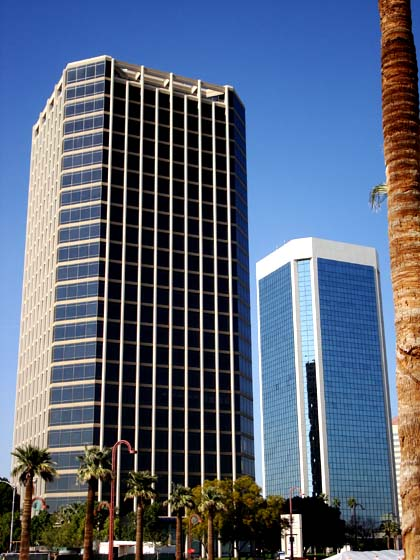 The Great American Tower and 3300 Tower, completed in 1985 and 1980. MidtownPHXskyscrapers.jpg