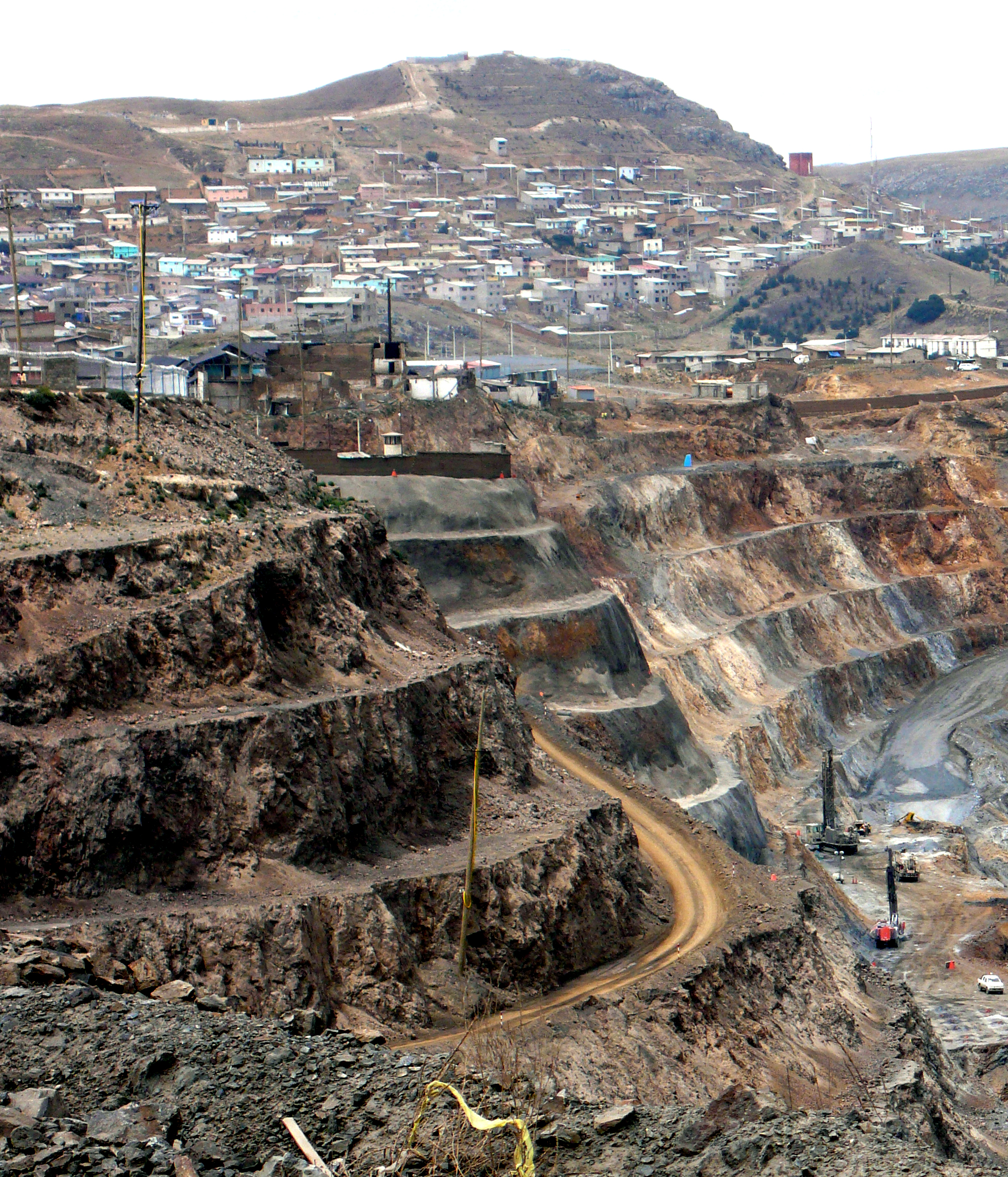 Mining activities in Cerro de Pasco, the capital of the Chaupimarca district and the Pasco Region