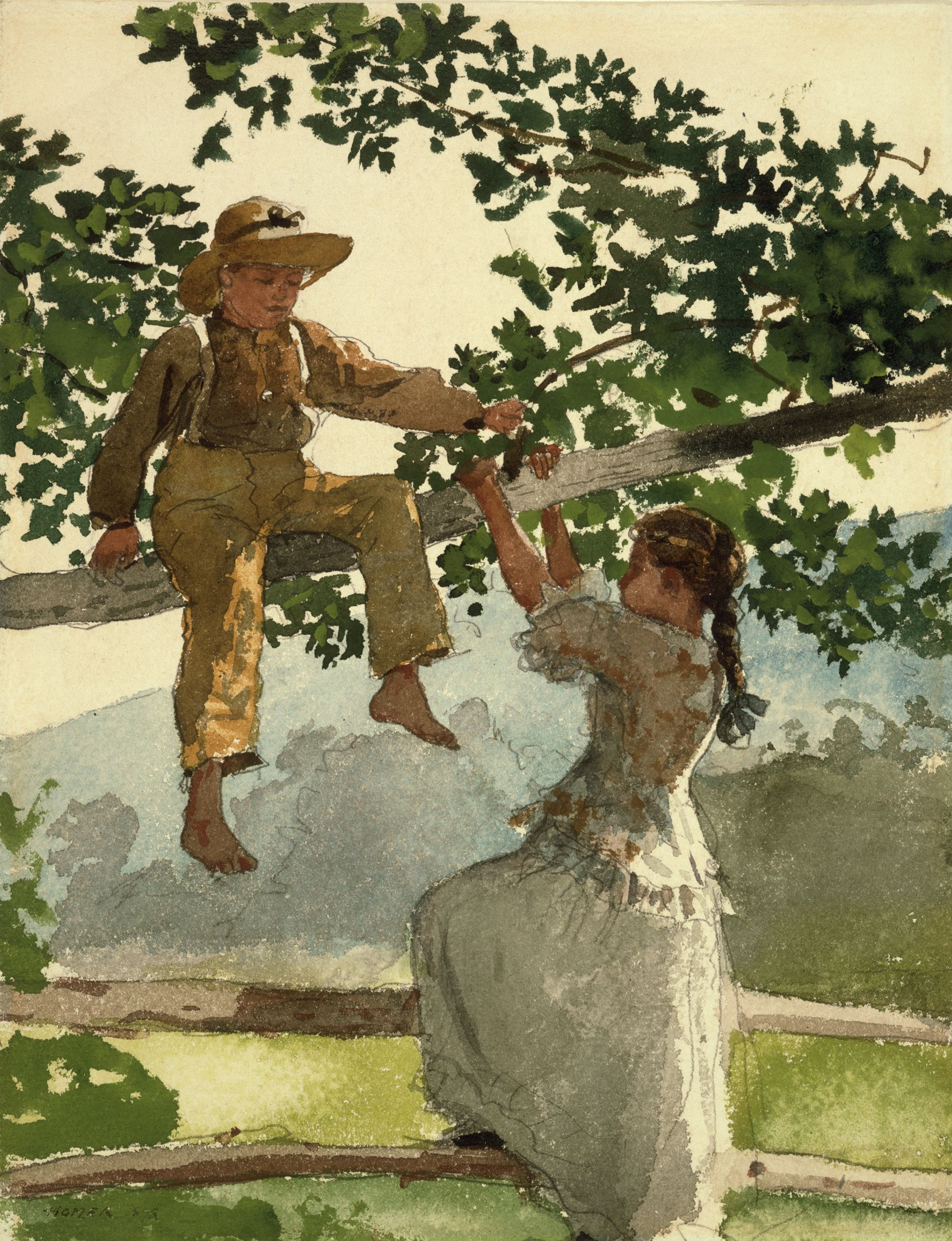 file on the fence by winslow homer 1878 wikimedia mons