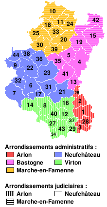 Province of Luxembourg composite map showing arrondissements (districts) and numbered municipalities.
