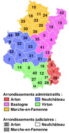 Mapa compuesto de la provincia de Luxemburgo que muestra distritos (distritos) y municipios numerados.