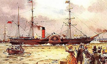 Quels sont vos paquebots préférés de la Cunard Line ? RMS_Britannia_1840_paddlewheel