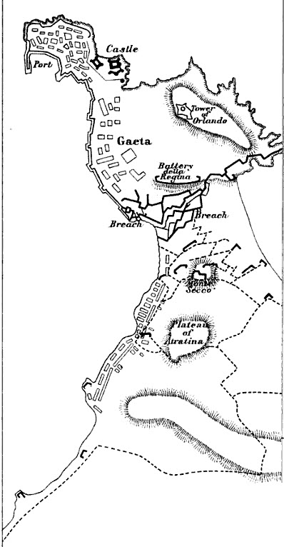 Siege of Gaeta plan shows the fortress defenses and the French siege parallels. Siege of Gaeta 1806 Map.jpg