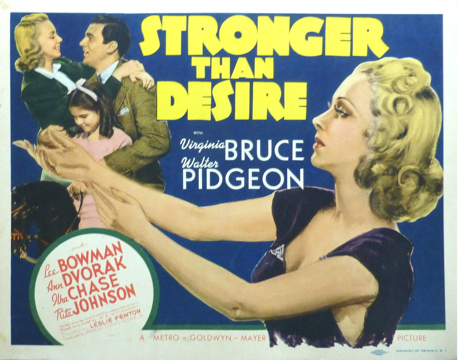 Movie poster for a flick titled Stronger than Desire
