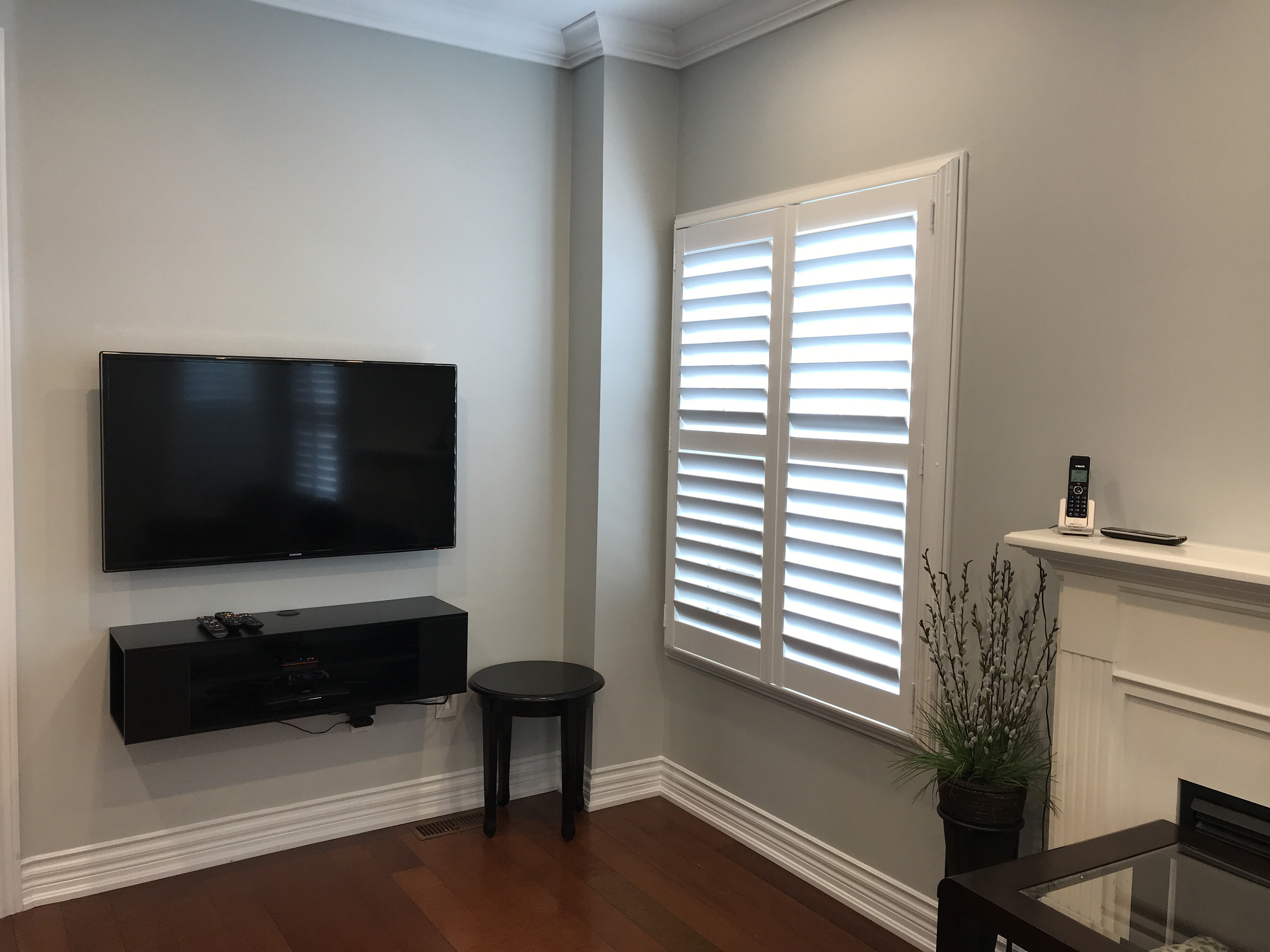 File White California Shutters Fitted In Living Room Window